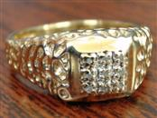ESTATE NATURAL DIAMOND CLUSTER NUGGET RING BAND REAL 10K GOLD SZ 10